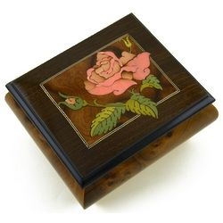 Italian Single Pink Rose Musical Box