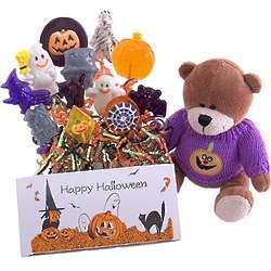 Halloween Lollipop Treats and Costume Teddy Bear