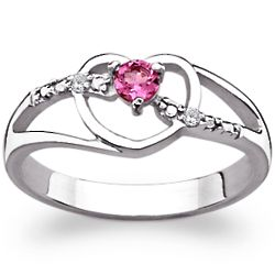 Sterling Silver Birthstone and Diamond Open Heart Ring