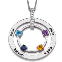 Sterling Silver Family Name and Birthstone Circle Necklace