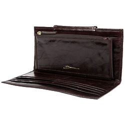 Malibu Large 12 Pocket Chocolate Leather Wallet