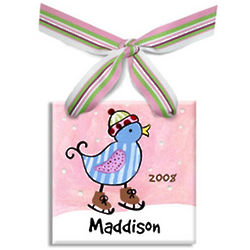Skating Blue Bird Personalized Ornament