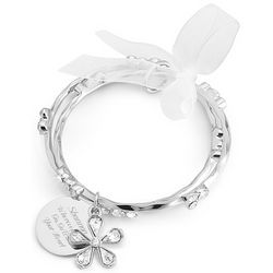 Engraved Silver-Plated Bezel Bangle