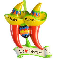 Chile Peppers and Maraca Couple Personalized Ornament