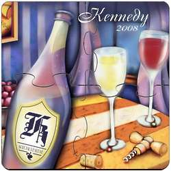 Personalized Wine Painting Coaster Puzzle Set