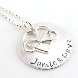 Infinity Heart Personalized Hand Stamped Necklace