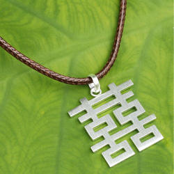 Double Happiness Men's Sterling Silver Pendant Necklace