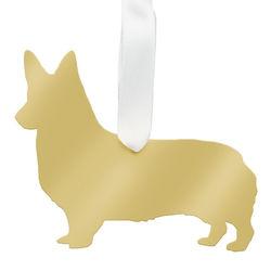 Personalized Corgi Christmas Ornament in Gold