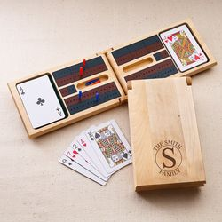 Family Circle Cribbage Game with Personalized Monogram