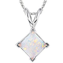 Opal Solitaire Pendant in 14K White Gold
