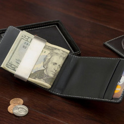 Black Leather Slim Wallet with Clip