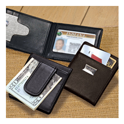 Greek Personalized Leather Wallet Money Clip