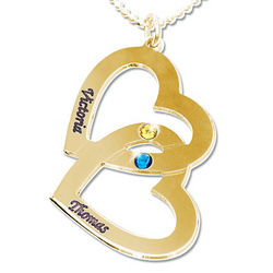 Personalized 18K Gold-Plated Heart in Heart Birthstone Necklace