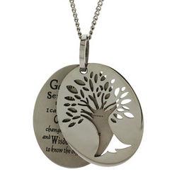 Serenity Prayer Tree of Life Tag Pendant