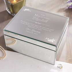 To My Bridesmaid Engraved Mirrored Jewelry Box