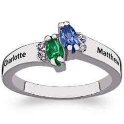 Sterling Silver Couples Marquise Name and Birthstone Ring