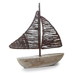 Rustic Wood Boat Sculpture