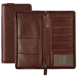 Mahogany Tumbled Leather Zippered Traveler