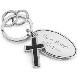 Engravable Religious Cross Keychain