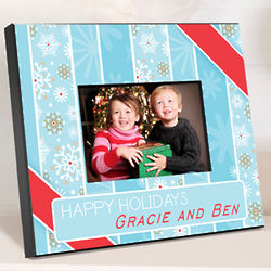 Snowflakes and Stripes Holiday Personalized Picture Frame