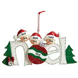 Personalized Noel Three Person Family Ornament