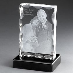 Portrait Flat 3D Photo Crystal on Black Base