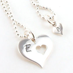 Mother and Daughter Personalized Initial Heart Necklaces