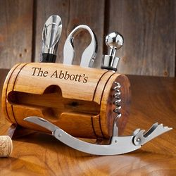 Personalized Wine Barrel Corkscrew Accessory Set