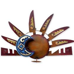 Aztec Eclipse Sun and Moon Steel Wall Iron Wall Candleholder