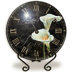 Personalized Glass Calla Lily Clock with Stand