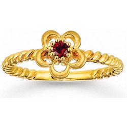 Garnet Flower 14K Gold Tots Ring