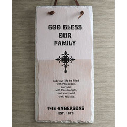 Bless Our Family Personalized Slate Plaque