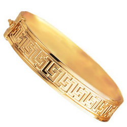 14k Yellow Gold Greek Carved Bangle