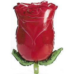 Red Rose Bud-Shaped Mylar Balloon
