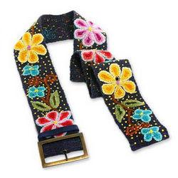 Midnight Blue Bouquet Wool Belt