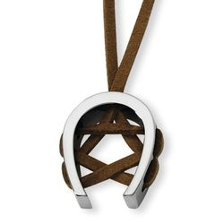 Brown Leather Necklace with Tungsten Horseshoe Pendant