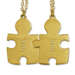 Personalized 18k Gold-Plated Couple's Puzzle Necklace