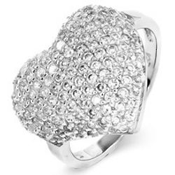 Sparkling Micro-Pavé CZ Sterling Silver Heart Ring