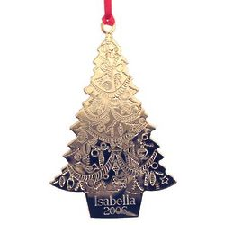 Personalized Gold Christmas Tree Ornament