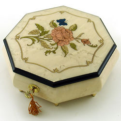 Ivory Stain Octagonal Music Jewelry Box