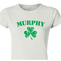 Personalized Irish Shamrock Ladies Fitted T-Shirt