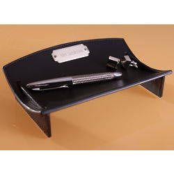 Personalized Leather Curving Desk Caddie