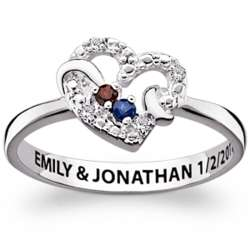 Sterling Silver Couple's Double Birthstone and Diamond Heart Ring