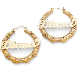 Personalized Bamboo-Style Gold Plated Earrings