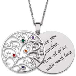 Engraved Sterling Silver Family Birthstone Necklace