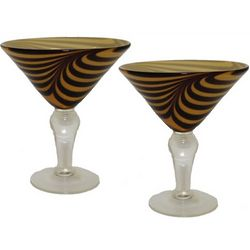 Tiger Swirl Martini Glasses