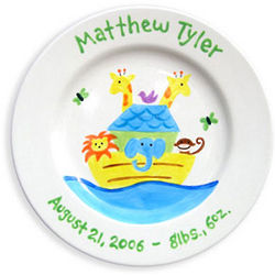Noah's Ark Personalized Baby Boy Plate