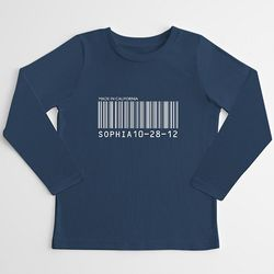 Kid's Personalized Barcode Long Sleeve T-Shirt
