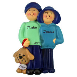 Couple with Dog on Leash Personalized Ornament