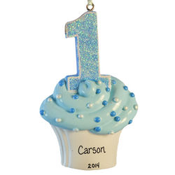First Birthday Baby Boy Glittered Cupcake Ornament